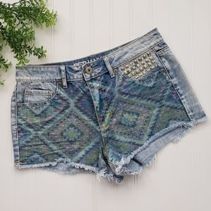 Bethany Mota High Rise Aztec Denim Shorts sz 4